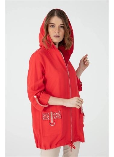 Desen Triko Ceket Kırmızı